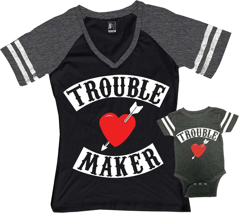 Trouble Maker Mom Shirt Black & Trouble Kids Boy Matching Set