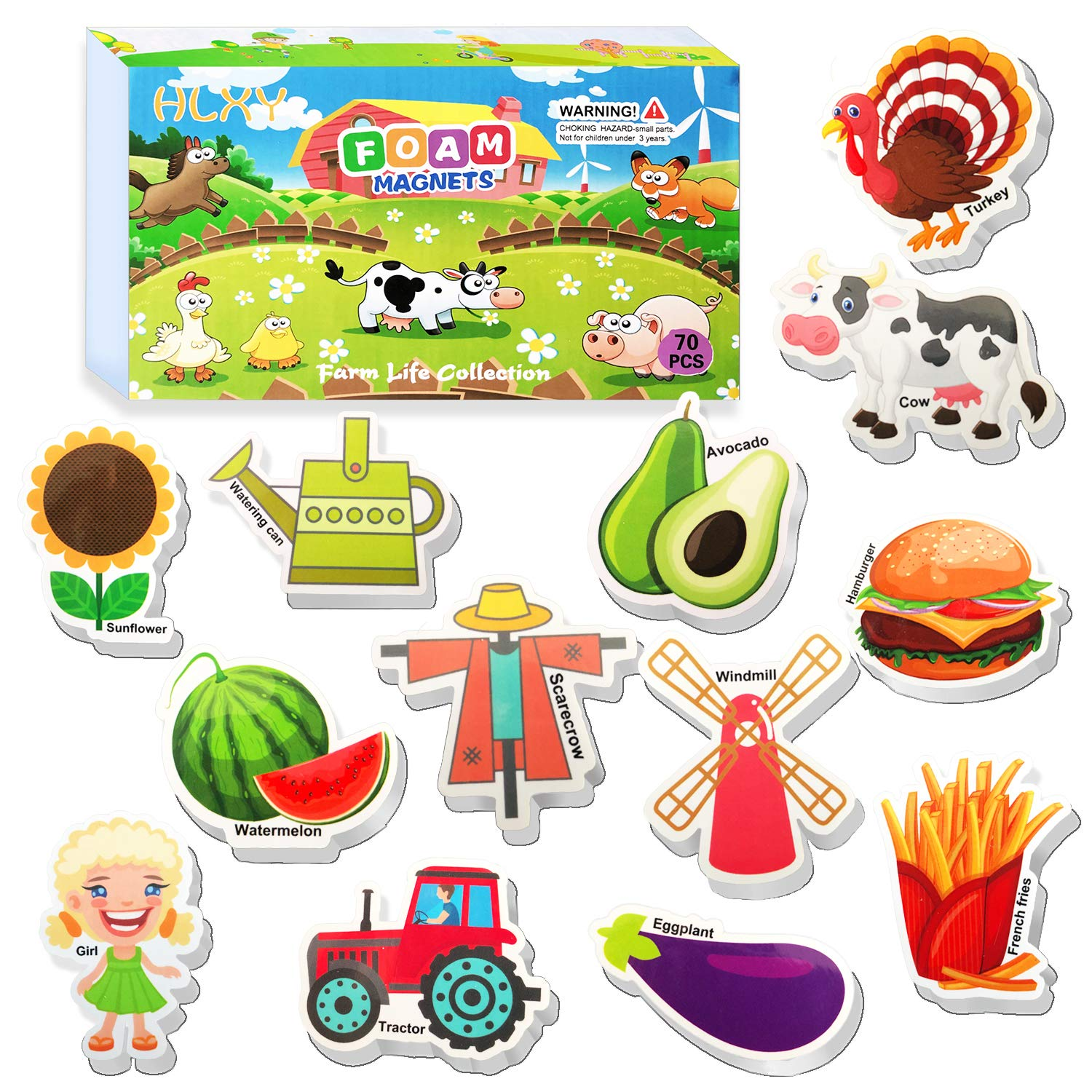 HLXY Fridge Magnets for Kids Toddlers Set of 70 Farm Animal Magnets - Foam Magnets - Fruit Vegetables Food Magnets - Developmental Baby Toddlers Early Learning Toys