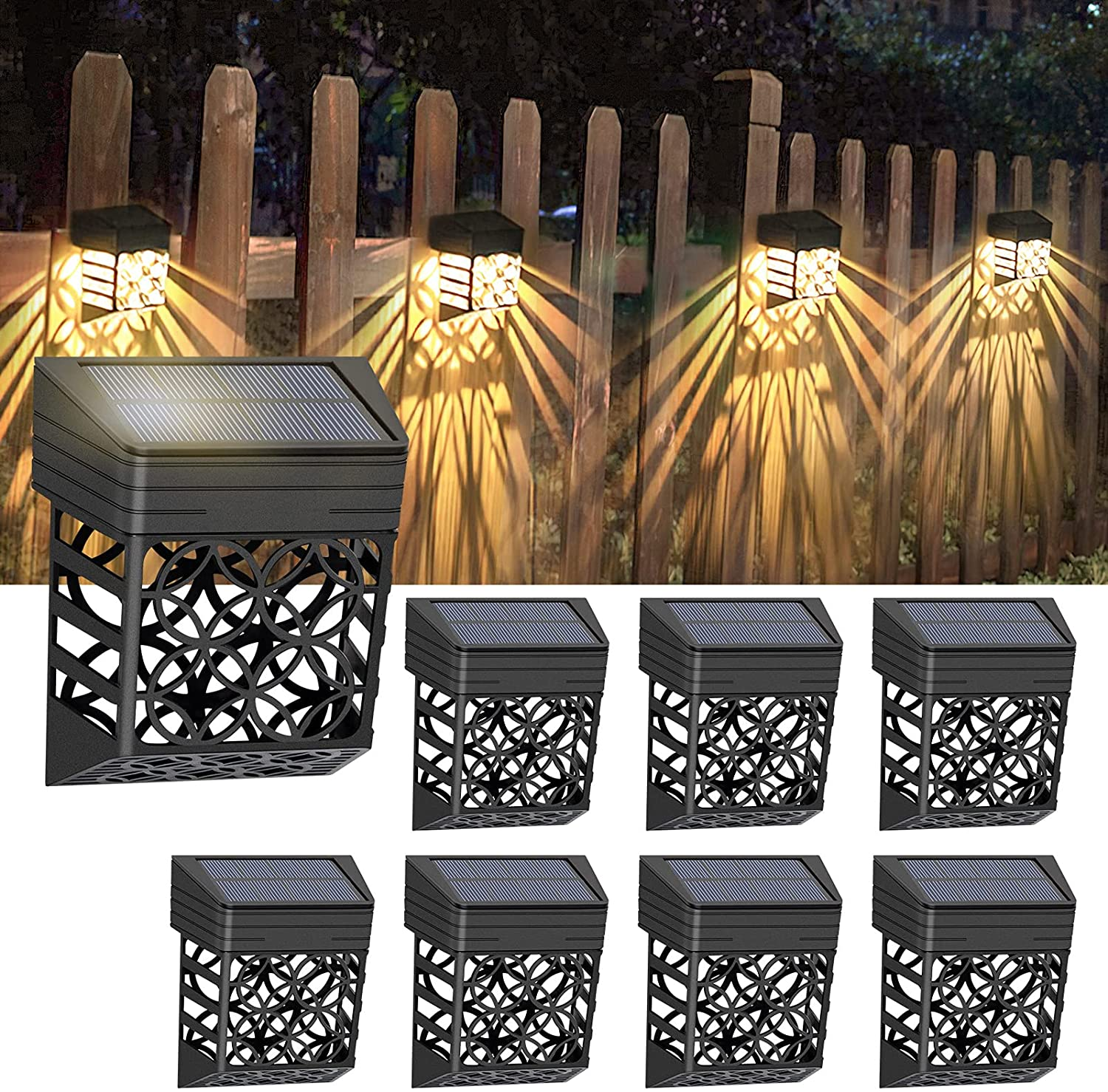 Litake 8Pack Solar Fence Lights Outdoor Solar Deck Lights Waterproof Decorative Solar Fence Wall Lighting for Garden Decor Patio Yard Step Pool Stair