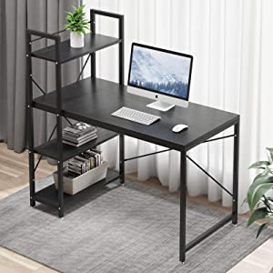 Tower Computer Desk with 4 Storage Shelves - 47.6 inch Writing Study Table with Bookshelves Study Desk Modern Steel Frame Compact Wood Desk Home Office Workstation (Black)