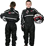 Childrens Kids RACE SUIT Limited Edition Karting Motocross Dirt Bike by Qtech- BLACK - SMALL