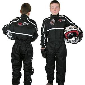 Qtech - Combinaison intégrale de moto-cross/karting/moto - enfant - Noir - S