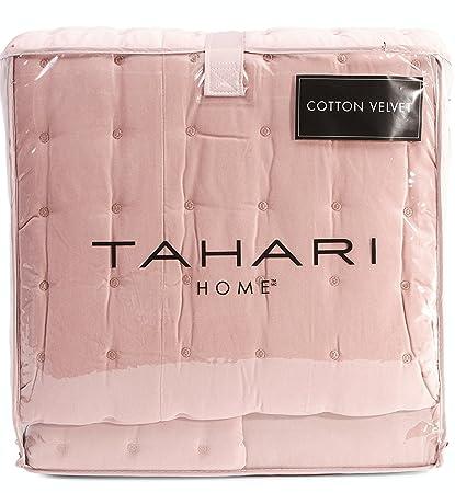 Tahari Home Luxury Glamour Bedding Velvet Diamond Soft Dusty Rose Quartz Pink Quilted Coverlet And Shams