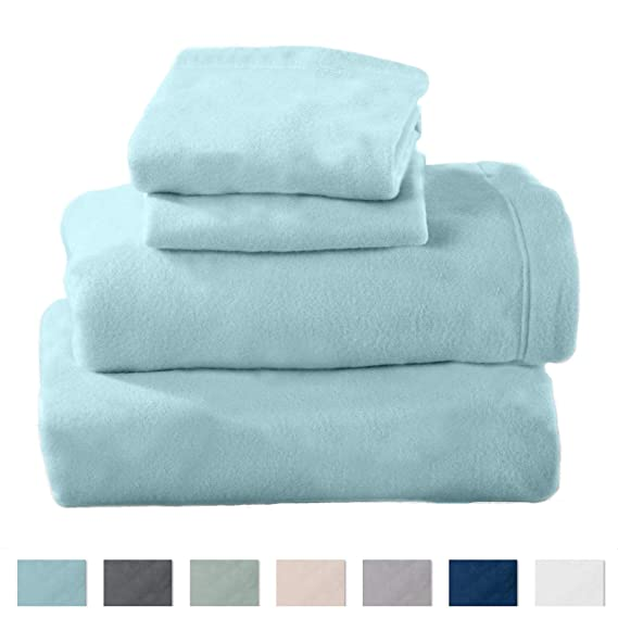 Home Fashion Designs Maya Collection Super Soft Extra Plush Fleece Sheet Set. Cozy, Warm, Durable, Smooth, Breathable Winter Sheets in Solid Colors (Queen, Cloud Blue) best queen fleece sheets