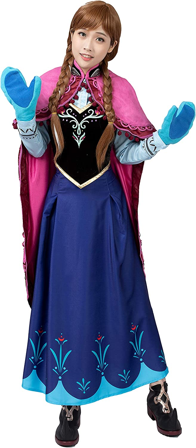 Disney Movie Frozen Princess Anna Cosplay Dress Costume pink Cloak Full Set