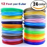 3D Pen/3D Printer Filament,1.75mm PLA filament Pack of 24 Different Colors,High-Precision Diameter Filament, Each color 12 Feet, total 288 Feet Lengths