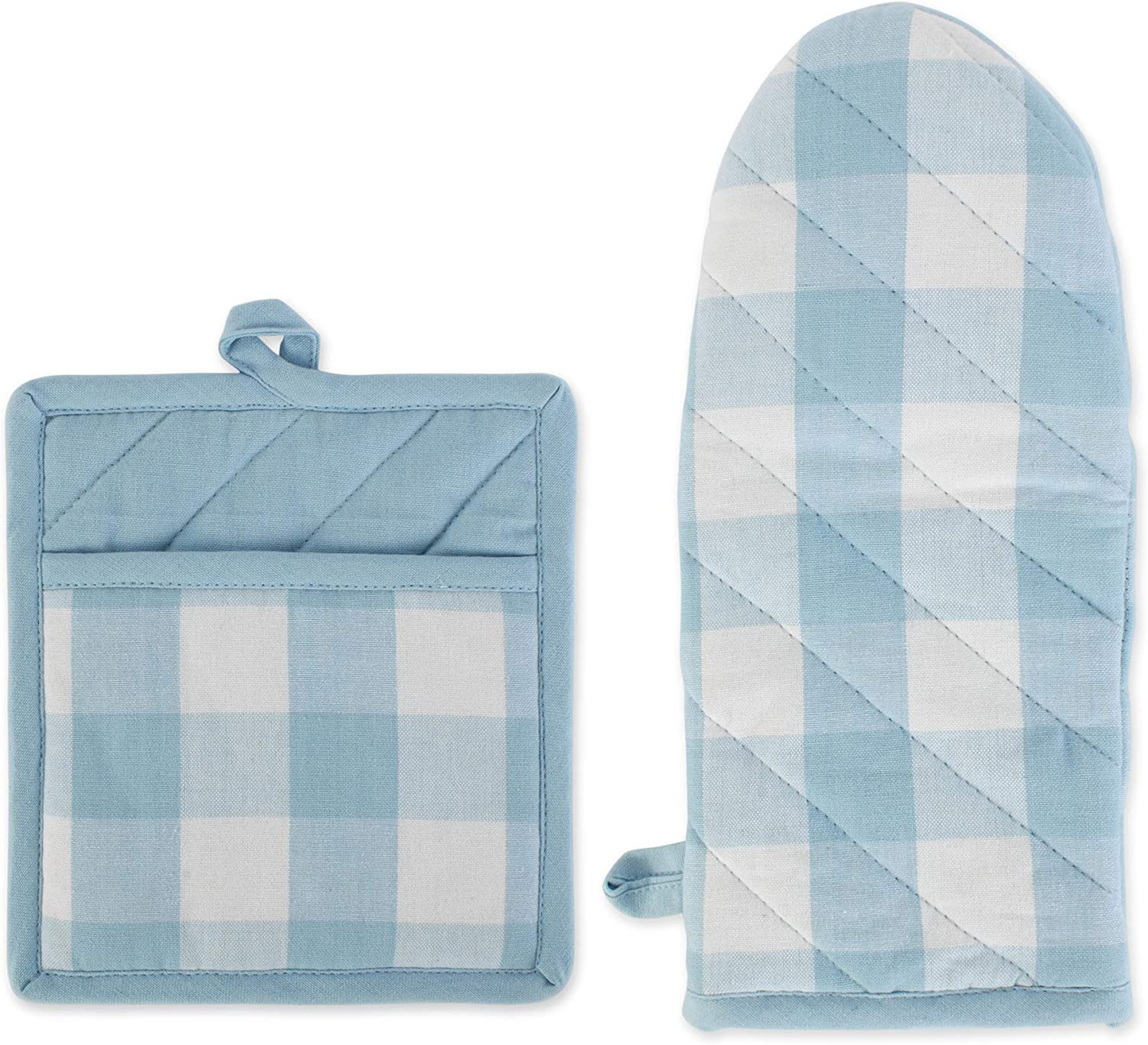 DII Buffalo Check Kitchen Collection Classic Farmhouse Style for Your Home and Kitchen, Oven Mitt/Potholder Set, White & Light Blue 2 Piece