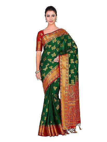 519dbb5bb02d48 Mimosa Art silk Wedding saree Kanjivarm Pattu style With Contrast Blouse  Color  Green (4298-321-2D-BGRN-RD)  Amazon.in  Clothing   Accessories