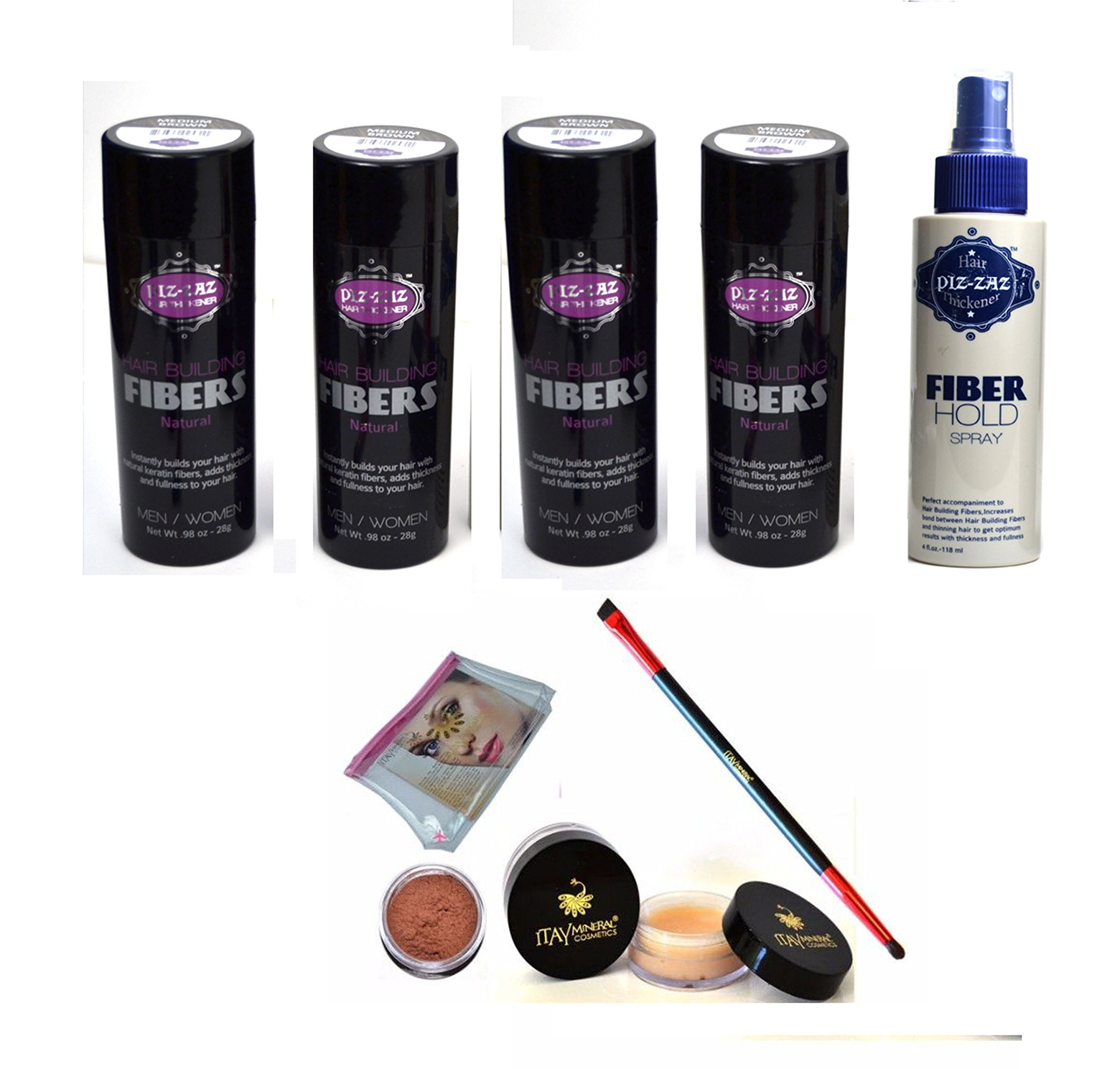 Bundle 6 Items: Piz-zaz Hair Fibers 4x Hair Fibers+ Hold Fiber Spray + Matching Itay Brow Building Fiber Set (PIZ-ZAZ HAIR FIBERS- BLACK)