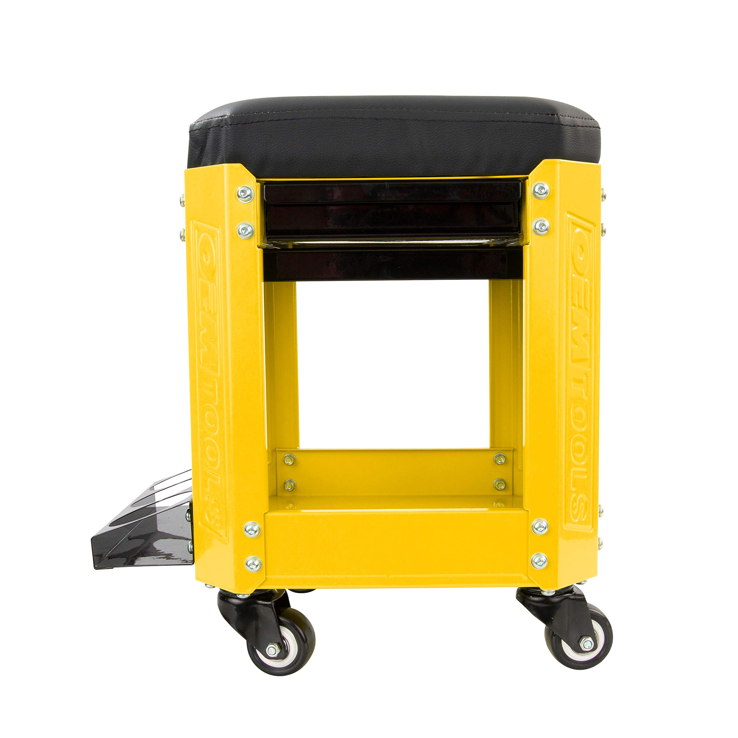 OEMTOOL 24999 Yellow Rolling Workshop Creeper Seat with 2 Tool Storage Drawers Under Seat Parts Storage Can Holders by OEMTOOLS (Image #3)