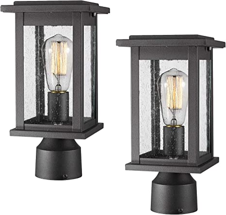 Emliviar Outdoor Post Light Fixtures 2 Pack Exterior Pillar Light In Black Finish With Seeded Glass 1803ew1 P 2pk