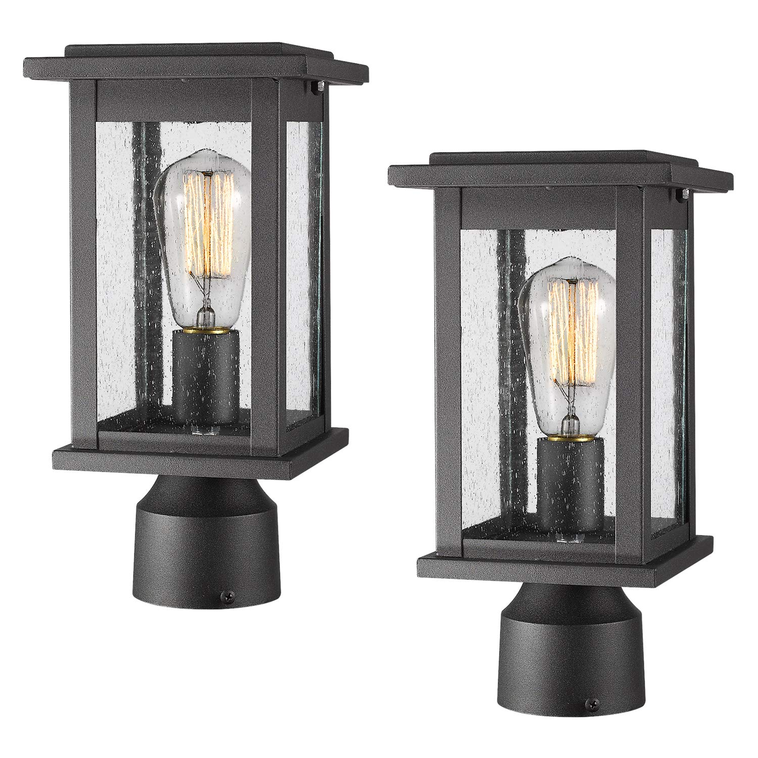 Emliviar Outdoor Post Light Fixtures 2 Pack, Exterior Pillar Light in Black Finish with Seeded Glass, 1803EW1-P-2PK by EMLIVIAR