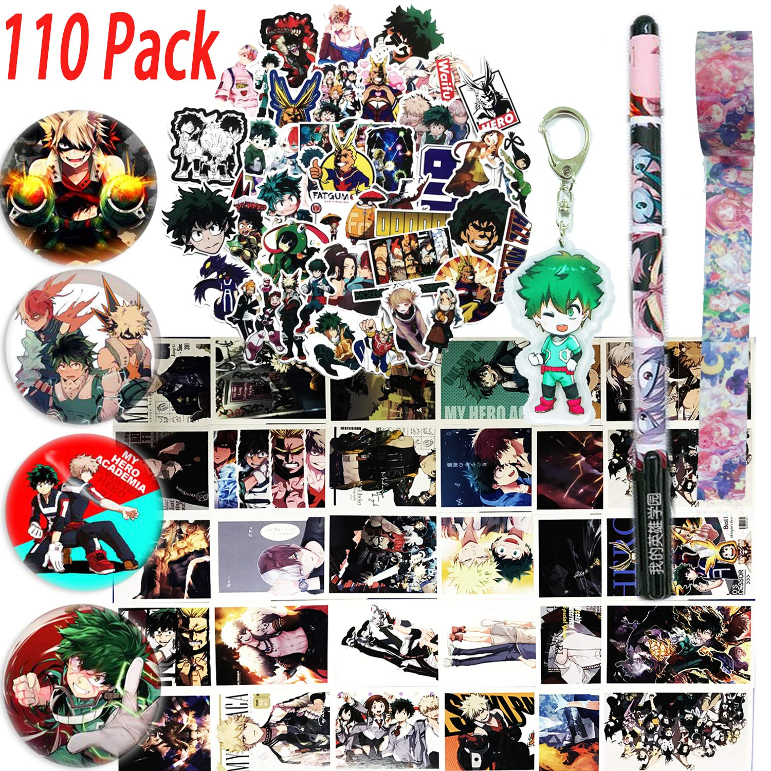 1 Phone Ring Holder 2 Button Pins 73 Cartoon Laptop Stickers KINON My Hero Academia Gift Sets 1 Keychain 1 Drawstring Bag 1 Face Mask