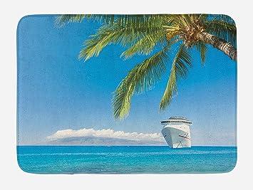 Hiaopp Nautisches Badematte, Groß, Cruise Schiff Köpfe Tropischen Sandy  Beach Exotischen Panorama Coastal Thema