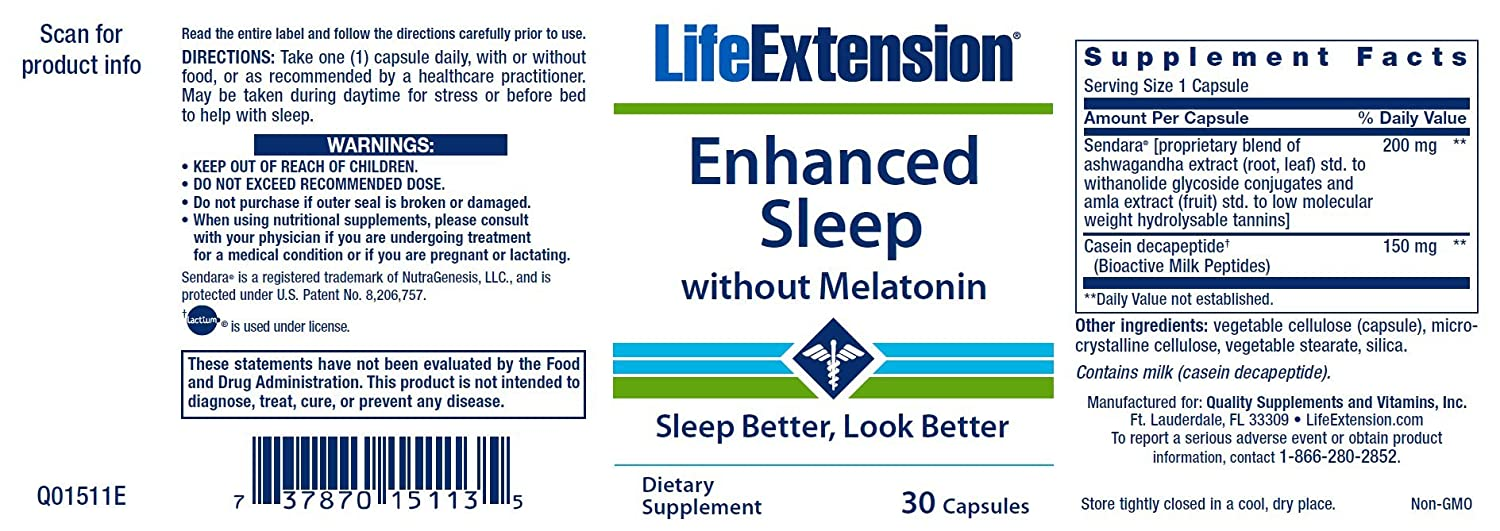 Amazon.com: Life Extension Enhanced Sleep Without Melatonin, 30 Capsules: Health & Personal Care