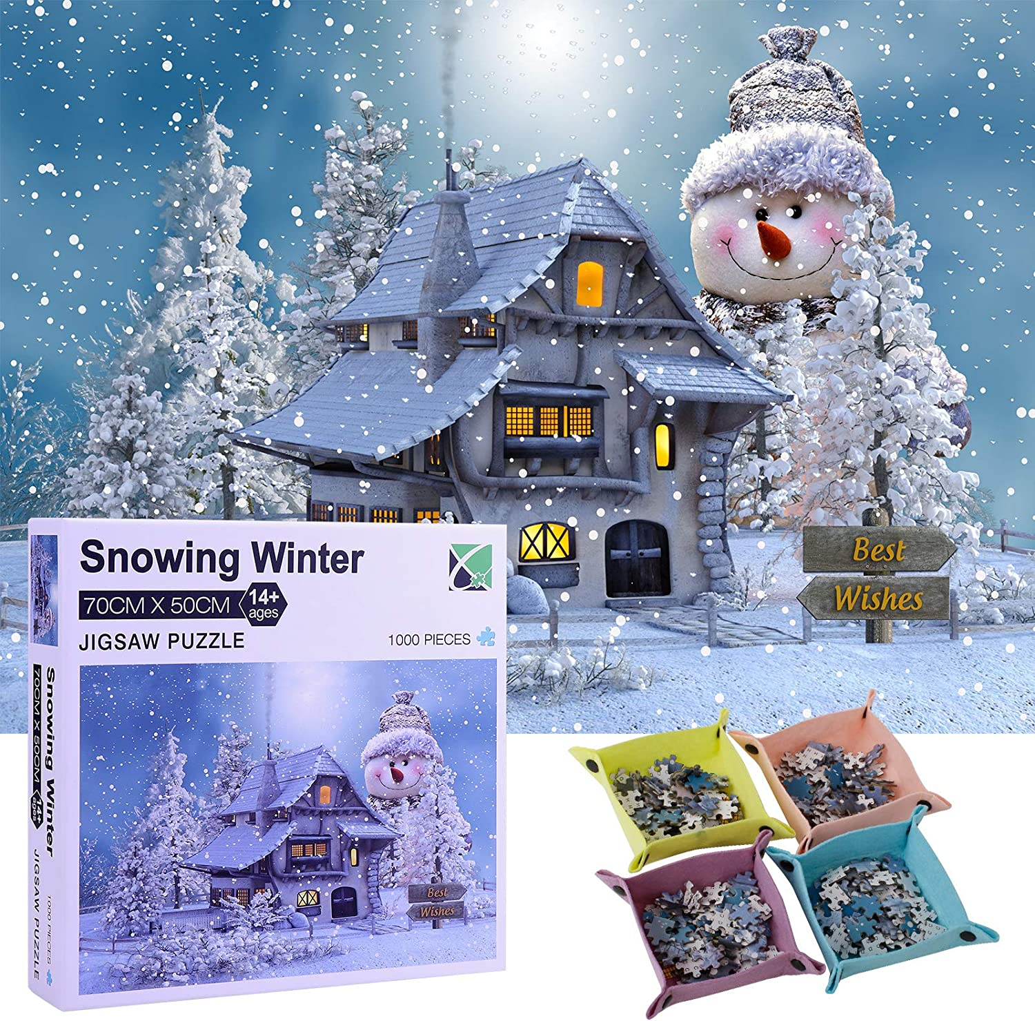 Home Isolation Challenge Jigsaw Puzzles 1000-Piece for Kids & Adults Snowing Puzzle Every Piece is Unique Puzzle with Letters On Back The Pieces Fit Together Perfectly with Four Storage Boxes
