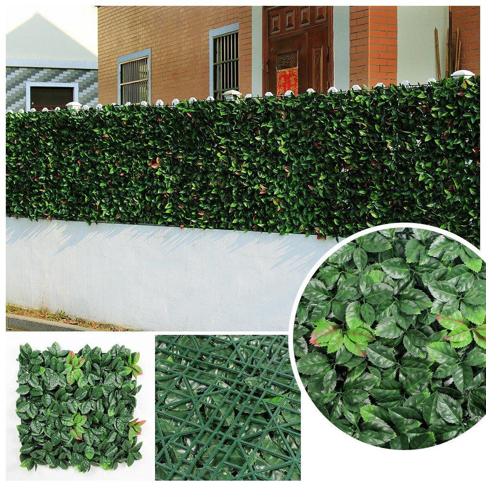 グリーンフェンス フェイクグリーン 目隠しフェンス リーフ フェンス 人工植物マット 造花 壁面緑化 壁面グリーン 壁掛け 店舗装飾 6枚 50x50cm/枚 ミックスリーフ マット 人工観葉植物 芝生 緑 (6 枚, グリーン2) B073JC1LMR 6 枚 グリーン2 グリーン2 6 枚