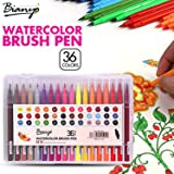 Bianyo 36 Color Premium Watercolor Painting Brush Marker Pens Set, Soft Flexible Tip Create Watercolor Effect - Best for Adult Coloring Books, Manga, Comic, Calligraphy