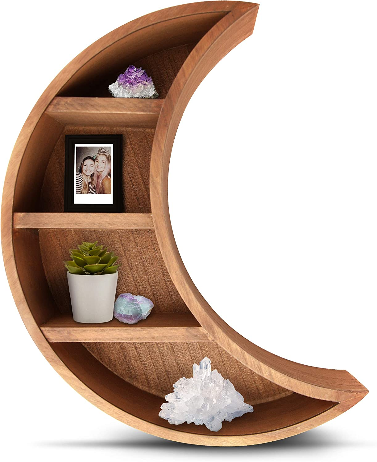 Lunar Sol - Crescent Moon Shelf for Crystals - Solid Wood Craftsmanship for Any Home, Nursery, Dorm or Bedroom - Great for Stones, Crystals, Essential Oils and Plants - Boho Display Wall Decor