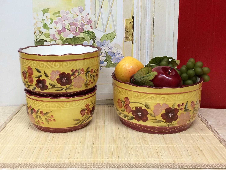 24,oz Tuscany Kitchen Fleur De Lis Ceramic 40oz 3-Piece Bowl 8W 56oz 84669 by ACK 8W