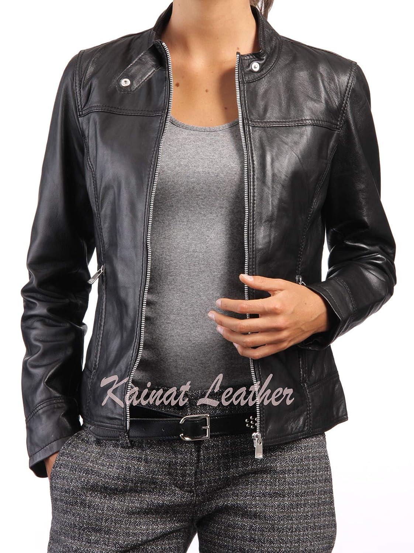 Womens Leather Jacket Stylish Motorcycle Biker Genuine Lambskin 105