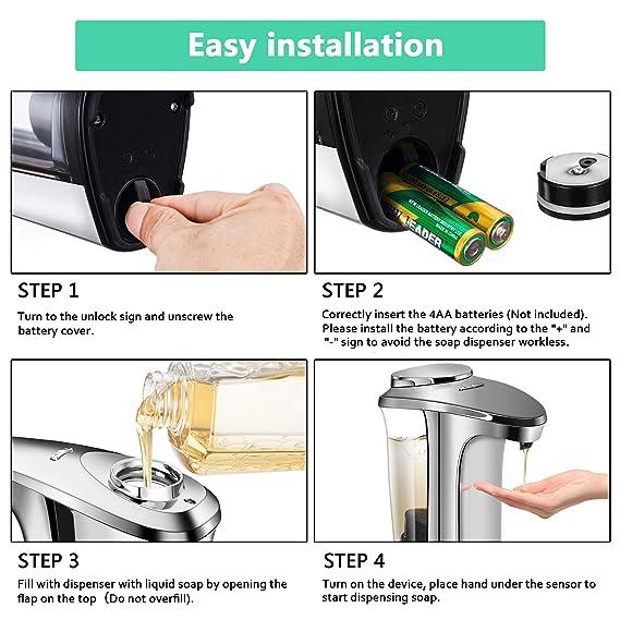 Cheftick Dispensador de jabón automático, Dispensador de jabón líquido para lavamanos Ajustable con Sensor de Movimiento Libre (500 ML), Gran Capacidad, ...