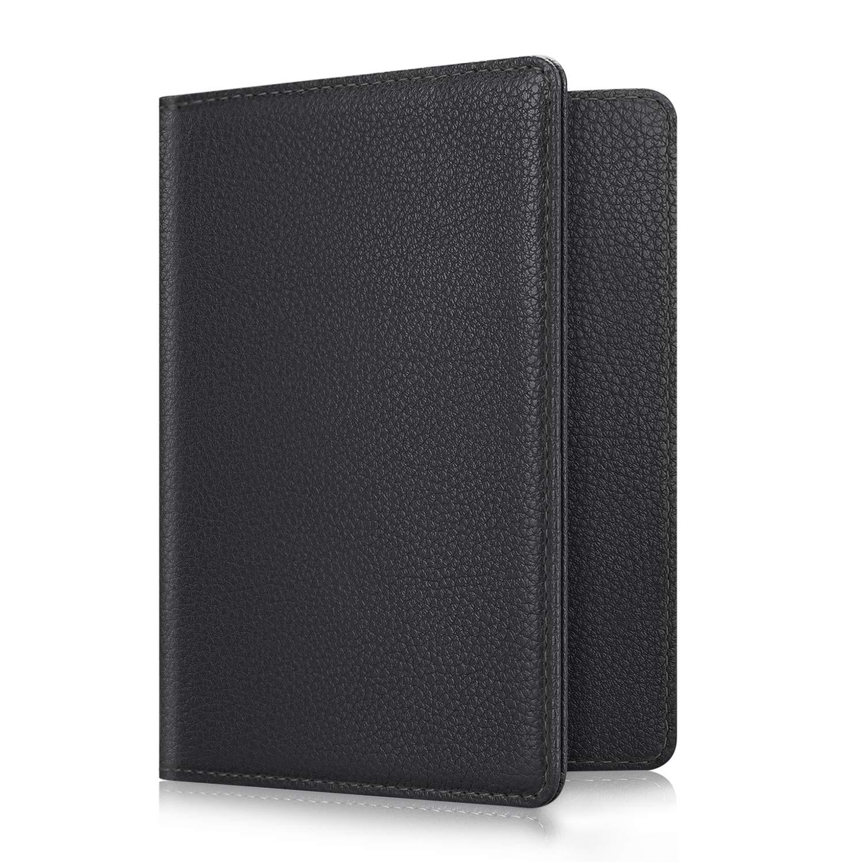 Fintie Passport Holder Travel Wallet RFID Blocking PU Leather Card Case Cover, Black