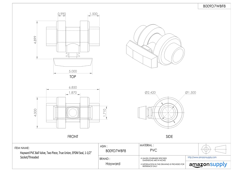 Hayward TB1150STE Series TB True Union Ball Valve, Socket/Threaded End, PVC  with EPDM Seals, 1-1/2