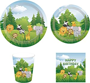 CC HOME Jungle Supplies Pack – Serves 16 – Includes Plates, Cups and Napkins. Safari Animal Supply Tableware Set Kit for Baby Shower,Birthday Party, Wedding Party Decorations
