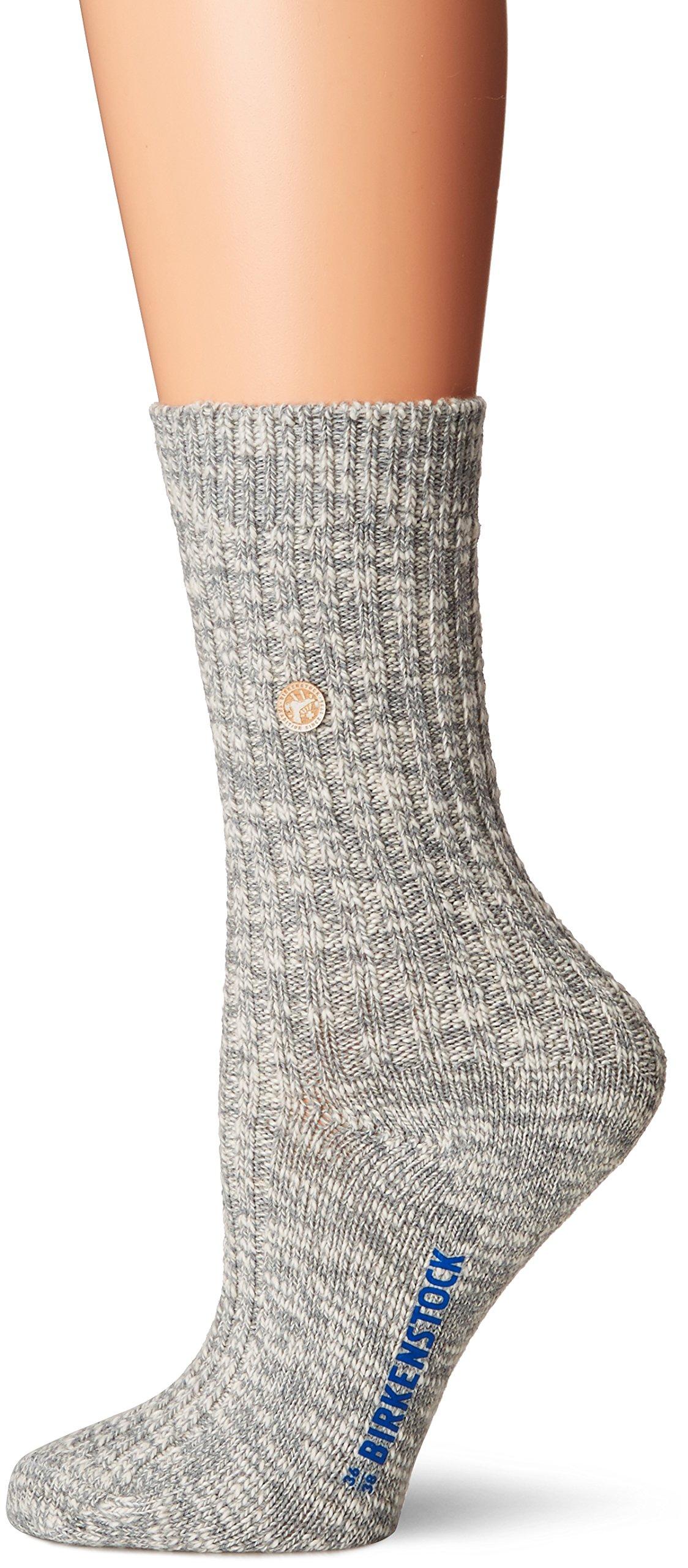 Birkenstock Womens Cotton Slub Grey/White Sock - 36-38