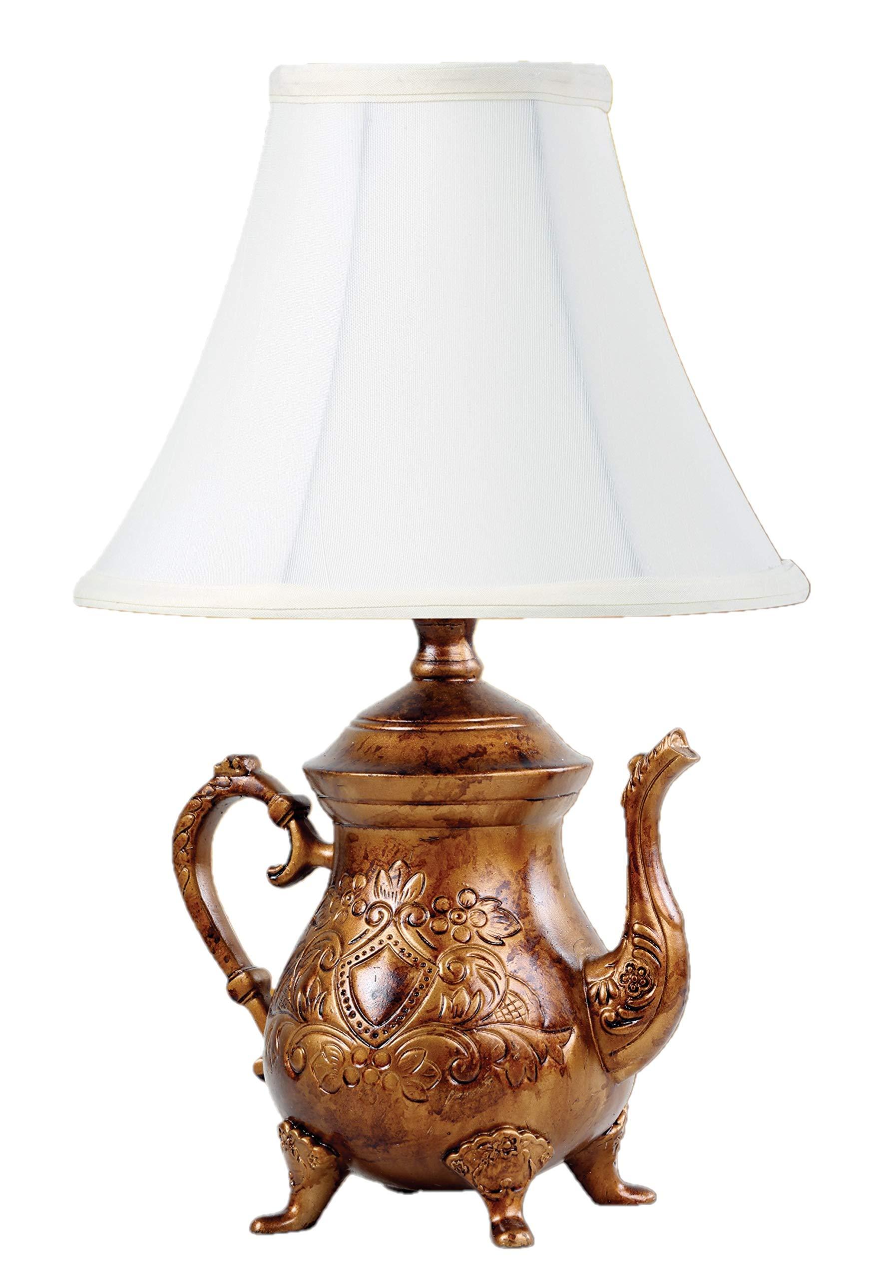 ویکالا · خرید  اصل اورجینال · خرید از آمازون · Vintage Brushed Bronze Teapot Lamp with Shade wekala · ویکالا