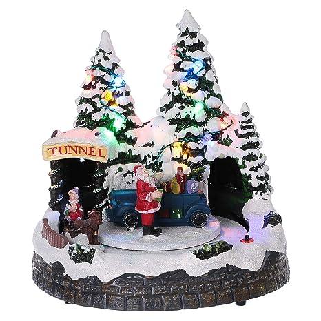 Immagini Natale Movimento.Holyart Villaggio Natalizio Treno Movimento Tunnel Babbo Natale