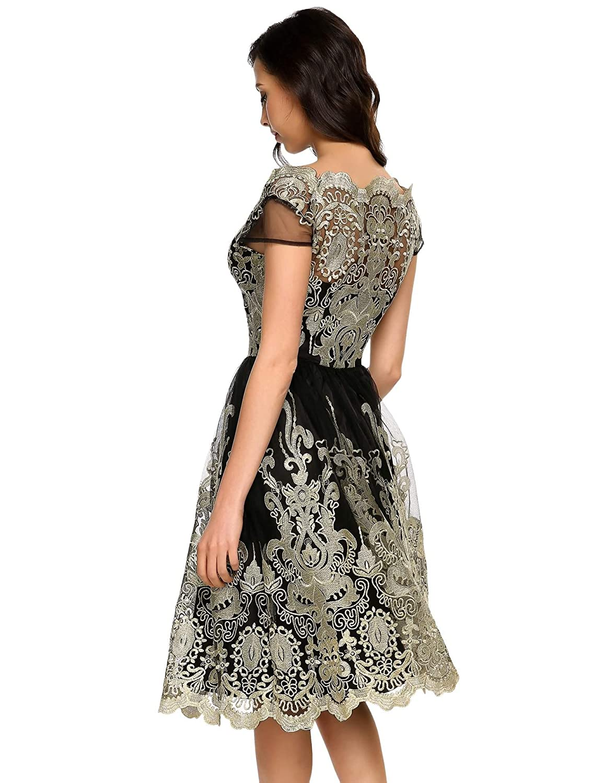 etuoji Women Elegant Short Sleeve Flower Print Lace Trimmed Off Shoulder A-Line Dress