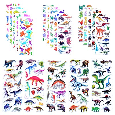 Kids Dinosaur Stickers, 3D Puffy Dinosaur Stickers for Kids&Toddlers, Bulk Kids Dino Stickers for Boys Girls Scrapbooking, TeachersReward Prizes, Dinosaur Themed Birthday Party Favors Supplies: Toys & Games