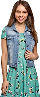 oodji Ultra Donna Gilet in Denim con Rivetti