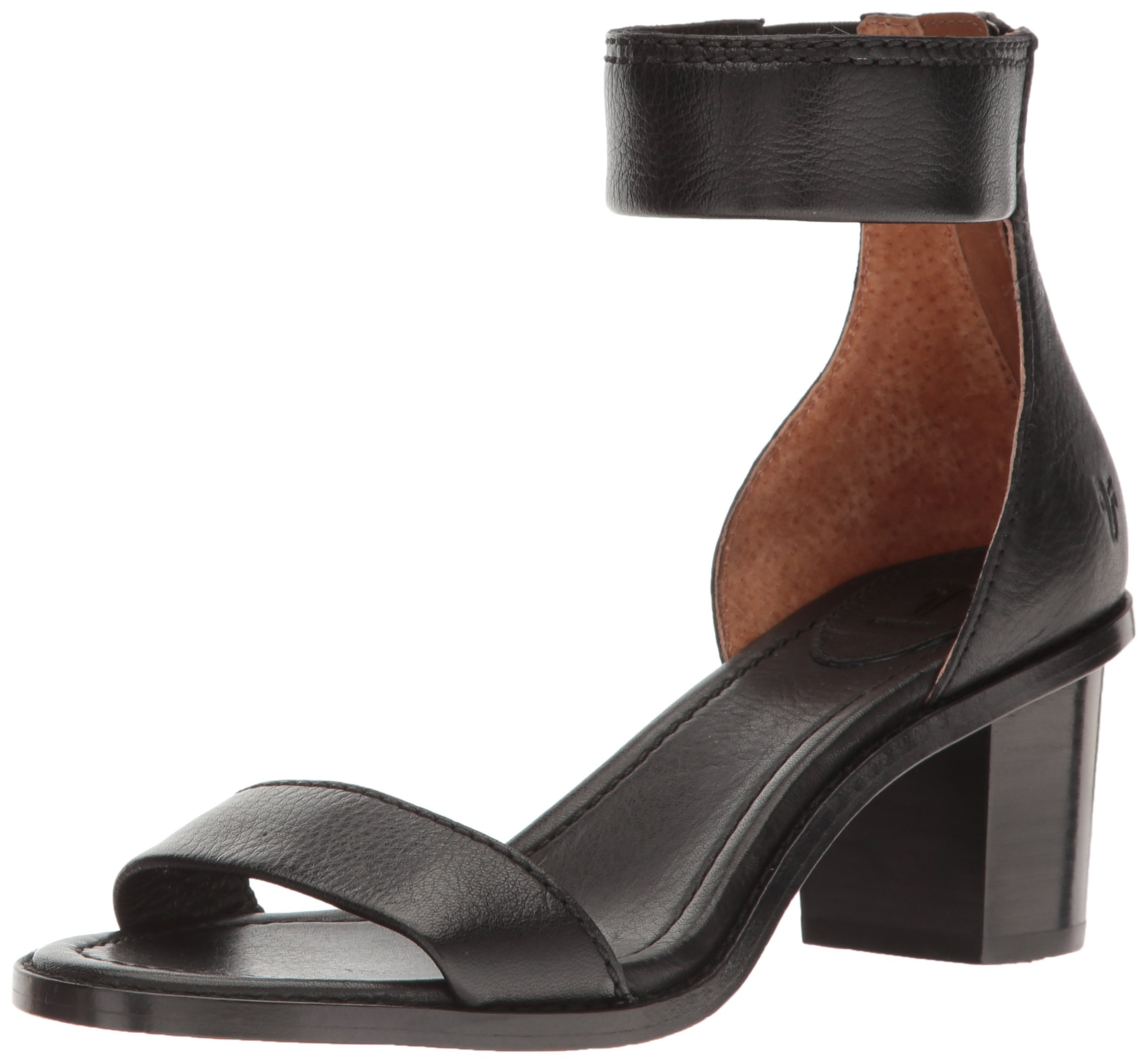 FRYE Women's Brielle Back Zip Dress Sandal, Black, 9 M US