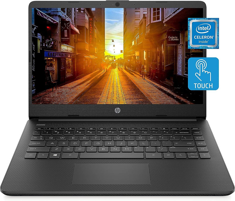 HP 14 Laptop, Intel Celeron N4020, 4 GB RAM, 64 GB Storage, 14-inch HD Touchscreen, Windows 10 Home, Thin & Portable, 4K Graphics, One Year of Microsoft 365 (14-dq0060nr, 2021, Jet Black)