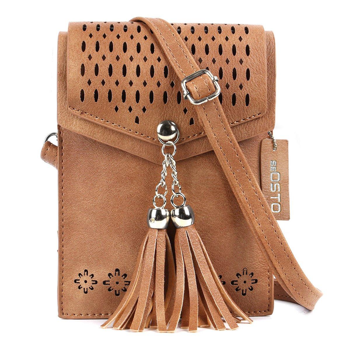 Women Small Crossbody Bag, seOSTO Tassel Cell Phone Purse Wallet Bags (Brown) …