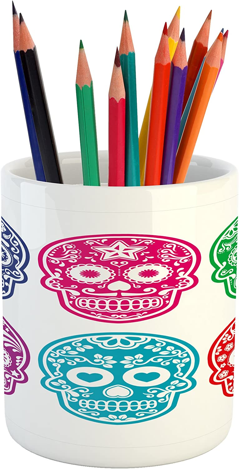 Ambesonne Day of The Dead Pencil Pen Holder, Skull Oriental Mexican Sugar for Day, Ceramic Pencil Pen Holder for Desk Office Accessory, 3.6