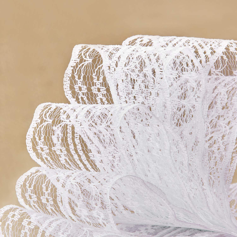LIVACASA Nastro Pizzo Bianco Vintage 5.5cm X10m Nastri di Pizzo Juta Rotolo Decorazione per Matrimonio Mestiere