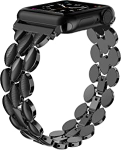 Moolia Compatible with Apple Watch Band 38mm 40mm Metal Fashion Women Replacement Strap Bracelet for iWatch Series 6 5 4 3 2 1 Black
