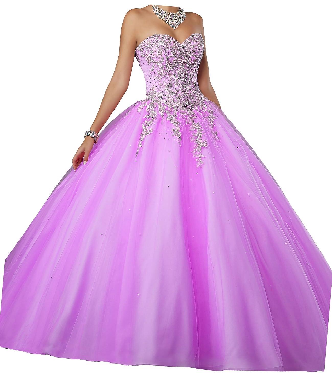 Fuchsia PuTao Women's Sweetheart Beaded Appliques Sweet 15 Quinceanera Dresses