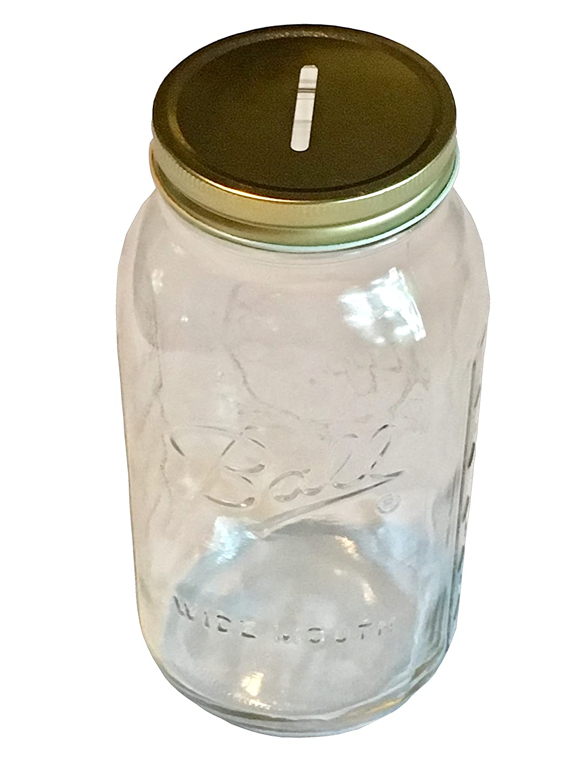 1 Mason Jar with Slotted Lid Insert Wide Mouth Half Gallon 64oz Piggy Bank for All Ages