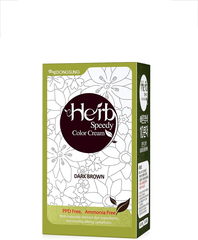 Herb Speedy Ppd libre de tinte de pelo y amoníaco libre color de cabello contiene de protección solar marron oscuro