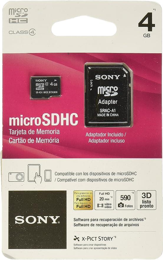 Sony Media 4 GB microSDHC Flash Memory Card (SR4A4)