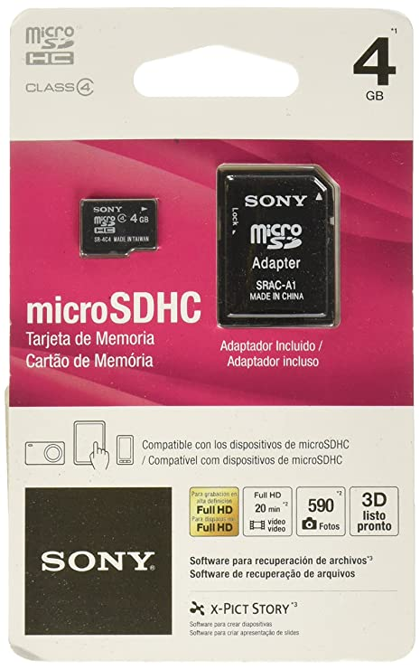 Sony Media 4 GB microSDHC Flash Memory Card (SR4A4)