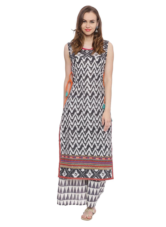 Avaana women Cotton Straight Long Kurta UC Fashion 50000342-Grey