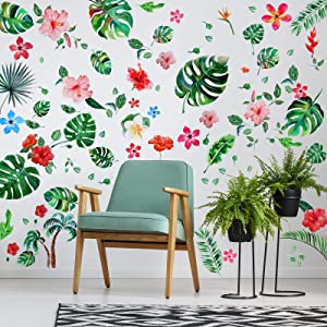 66 Pieces Large Palm Leaves Wall Decals DIY Tropical Hibiscus Flower Peel Removable Stickers Green Plants Fresh Leaves Stickers for Kids Baby Bedroom Living Room Office Bathroom Wall Corner