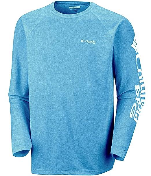 a5fa786485f Columbia Men's Deep Waves Omni Shade UPF50 PFG Long Sleeve Shirt Phoenix  Blue ...
