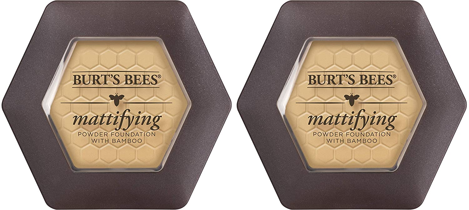 Burts Bees 100% Natural Mattifying Powder Foundation, Sand - 0.3 Ounce (Pack of 2)